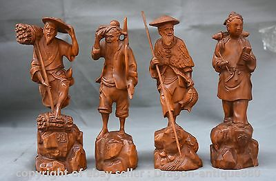 "8"" Chinese Boxwood Carving 4 Woodcutter Plough Read Fisherman Old Man Statue Set"
