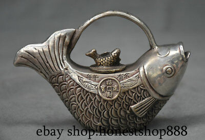 """4.8"""" Marked Old Chinese China Silver Dynasty Palace Carp Fish Wealth Kettle Pot"""
