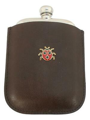 Ladybird Pewter 4oz Kidney Hip Flask In Leather Pouch FREE ENGRAVING 210