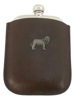 Lion Pewter 4oz Kidney Hip Flask Leather Pouch FREE ENGRAVING 222