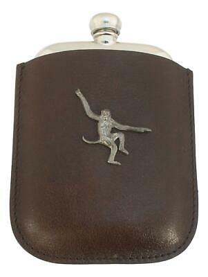 Monkey Pewter 4oz Kidney Hip Flask Leather Pouch FREE ENGRAVING 241