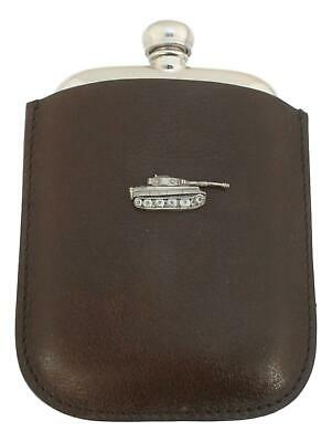 Panzer Tank Pewter 4oz Kidney Hip Flask In Leather Pouch FREE ENGRAVING 260