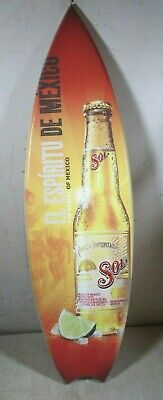 Large Wooden Surfboard Style Sol Beer Spirit Of Mexico Sign Display New NOS