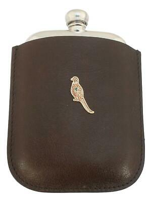 Pheasant Enamel Pewter 4oz Kidney Hip Flask In Leather Pouch FREE ENGRAVING 269