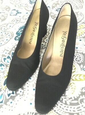 51fe8191d YSL YVES SAINT Laurent BLACK satin metallic gold slip on pumps heels ...