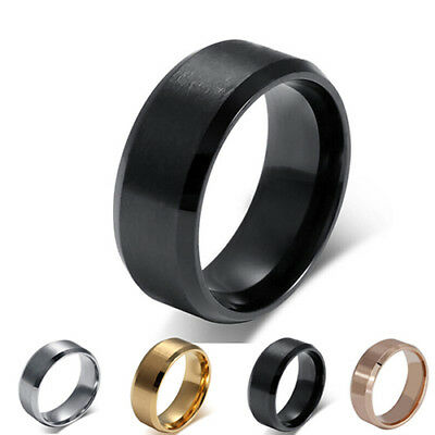 8mm Stainless Steel Ring Men's Women's Wedding Band Silver Black Gold Rose Int