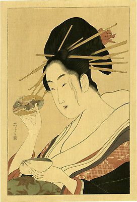 "Outstanding Taisho era EISHI woodblock reprint   ""YOUNG WOMAN PLAYING WITH CLAM"