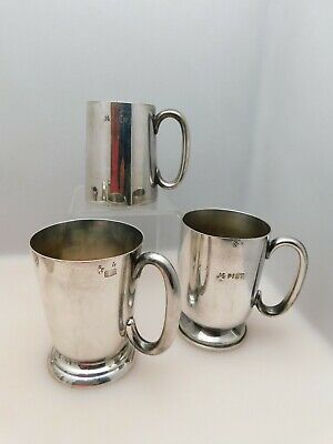 3 x Antique Silver Plated Railway Ware Mugs LNER GWR incl Elkinton Plate