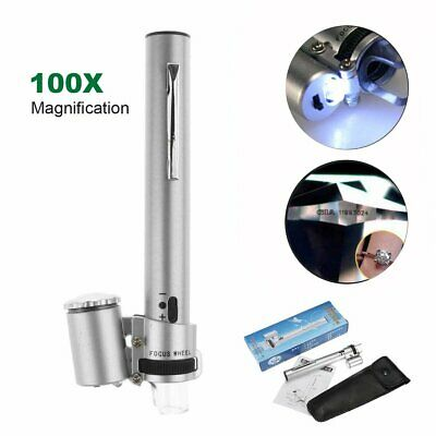 100X Magnifier Magnification Pocket Zoom Jewelry Microscope Loupe with LED Light