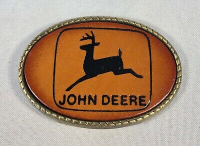 John Deere Belt Buckle Leather Front Vintage Logo
