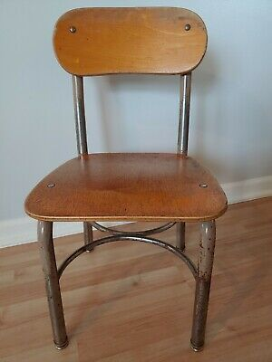Vintage NORCOR Child Size S Wood Chair Rustic Decor Youth School Desk MidCentury