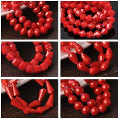 Round/Bicone/Teardrop/Cube Loose Spacer Glass Beads lot 4mm~12mm Foil Coated Red