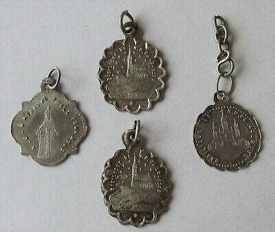 Lot 4 Vtg Antique French Silver Religious Medal Charms Virgin Mary Lourdes