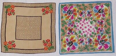 2 x vintage handkerchiefs / ladies 1930's hankies