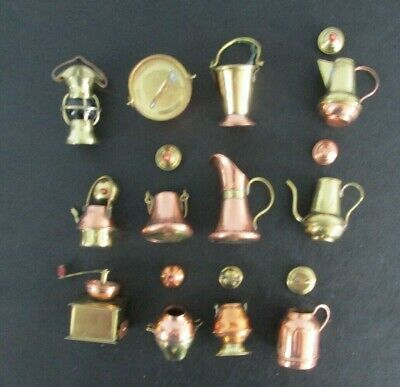 Collectible BRASS & COPPER MINIATURES Doll House LOT OF 12 Pots GRINDER Lantern
