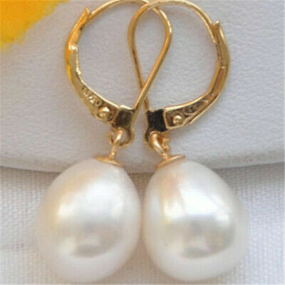 10-13mm white south sea pearl earrings with 18k hook jewelry CLASP Mesmerizing