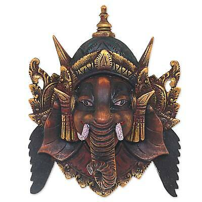 Ganesha Hand Carved Acacia Wood Gilt Mask 'Bestower of Happiness' NOVICA Bali