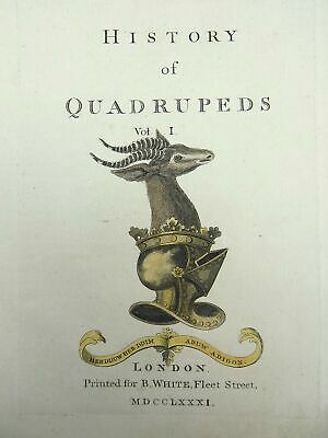 1781 Th. Pennant - TITLE PAGE TO QUARTO large paper edition in hand colour