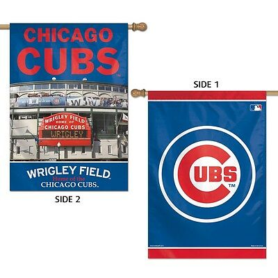 """Chicago Cubs Wrigley Field Home Of Chicago Cubs 28""""X40"""" Double Sided Banner Flag"""