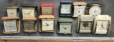 Antique TRAVEL ALARM Lot of 12 FOR PARTS OR REPAIR - ETERNA Hamilton SETH THOMAS
