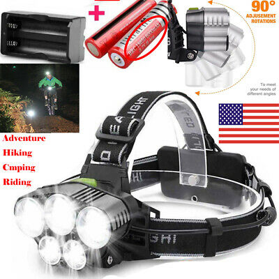 250000LM 5XT6 LED Headlamp Rechargeable Head Light Flashlight Torch Lamp 18650 .