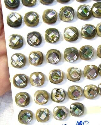 Natural Abalone Pearl Faceted Cabochon 10mm Cushion Square, 2 Cabochons