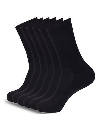 Mens Athletic Crew Socks 6-Pk Cushioned Sole Arch Support Size (8-12 & 13-15)