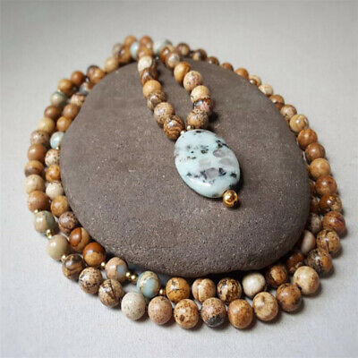 8mm imperial jasper necklace 108 Beads Buddhism mala energy natural Wristband