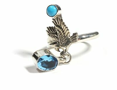 WHITE METAL Messenger Bird Synthetic Blue Stone Statement Ring, Size Q - D03
