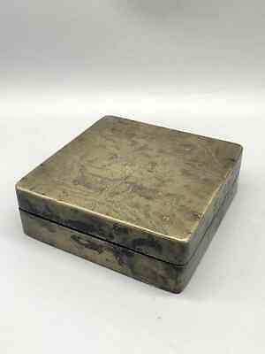 A bronze big ink box with peolpe and landscape-19th-Guangxu