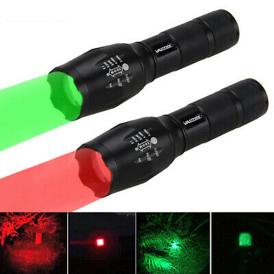 Adjustable Focus 5000LM LED Red/Green Light Zoom Flashlight Torch Lamp AAA/18650