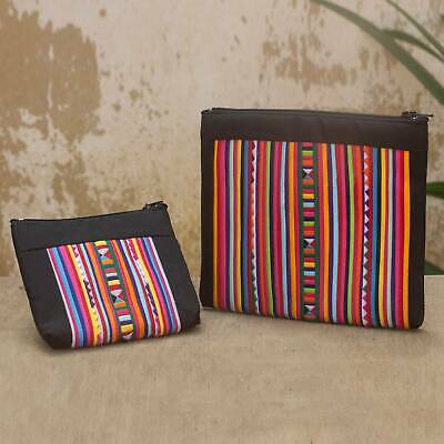 Cotton Blend Applique Cosmetic Bags Pair 2 'Lisu Rainbow' NOVICA Thailand