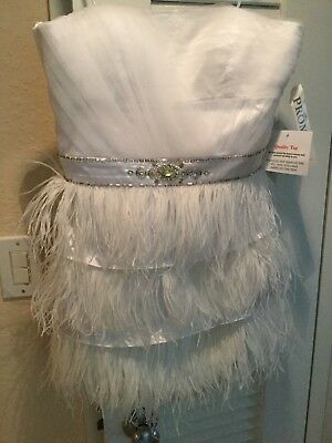 prom GIRL ostrich feather Cocktail social occasion prom dress White 8 NEW w/tag