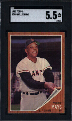 1962 Topps #300 Willie Mays Giants SGC 5.5 Well Centered *695851