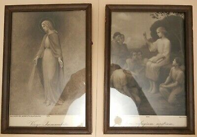 Pair of Vintage French Framed Religious Prints, Artist E.Azambre