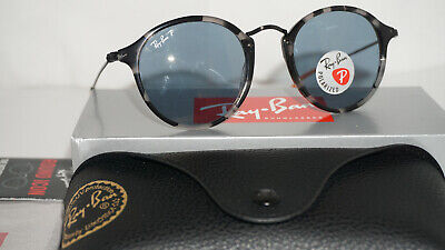 5d142f3ff RAY BAN Sunglasses Round Fleck Blue Havana Blue Polarized RB2447 124652 49  145