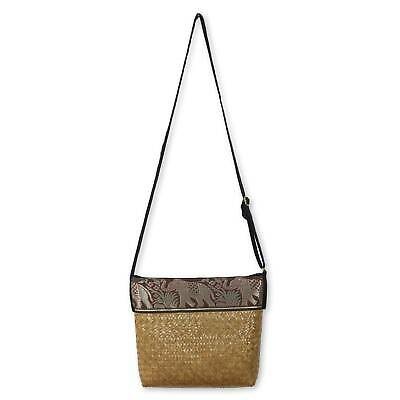 Natural Fiber Handwoven Shoulder Bag Cotton 'Brown Hill Tribe Elephants' NOVICA