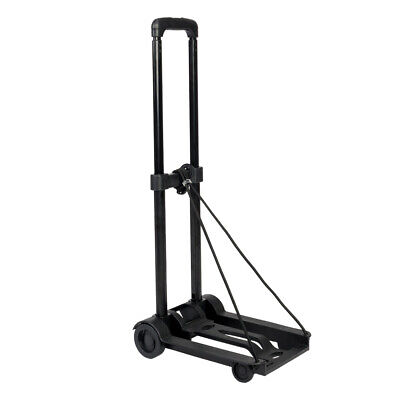 Portable Mini Folding Luggage Cart Travel Cart Adjustable Metal Rod Trolley