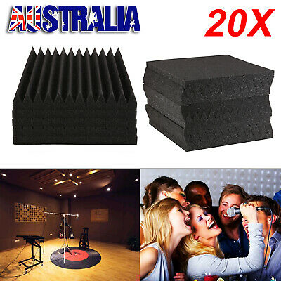 20pcs 30x30CM Studio Acoustic Foam Sound Proofing Ceiling Panels Absorption Tape