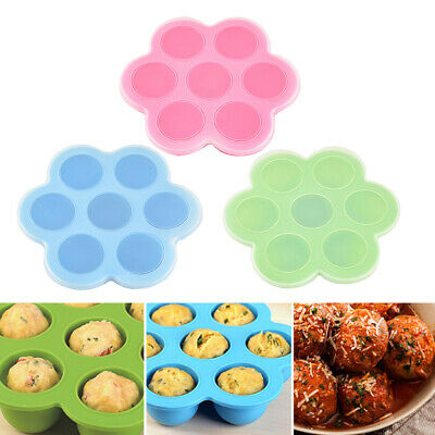 HR- 7-Slot Silicone Reusable Ice Cube Mold Storage Box Container Freezer Tray My