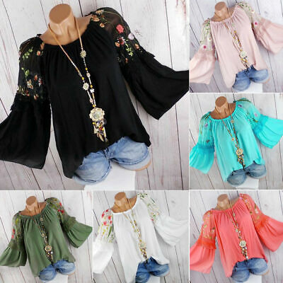 AU Plus Size Women Boho Floral Long Bell Sleeve Blouse Baggy Tops Ladies T Shirt