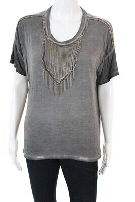 fa65b4a364 The Kooples Womens Beaded Chain Scoop Neck Short Sleeve T-Shirt Top Gray  Size 2