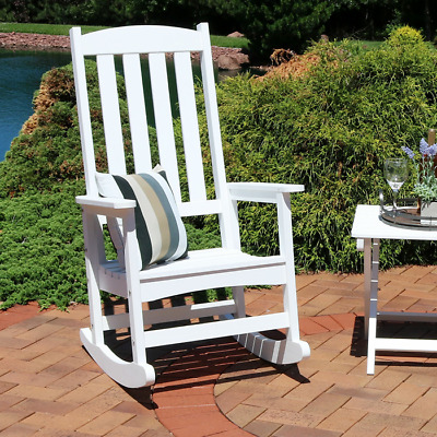 Traditional Wooden Rocking Chair with Curved Seat  Armchair White Garden Outdoor