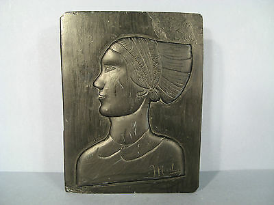 Profile of Womens Ladies Antique Low Relief in Stone Carved Signed Mader