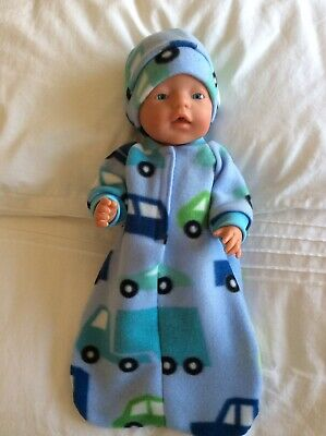 "Doll clothes - Sleeping Bag & hat to fit 17"" Baby Born Boy ~Blue. Transport"