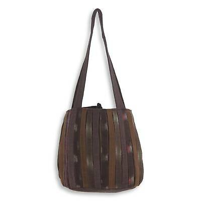 Cotton Shoulder Bag 'Oriental Dark Brown' Hand Woven NOVICA Thailand 3 Pockets