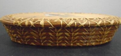 """Antique Native American Sioux Indian Handmade Basket Box 7.5"""" Long"""