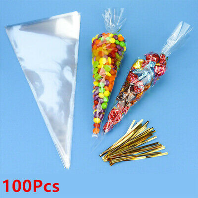 100Pcs Clear Cellophane Cone Bags MEDIUM Sweet Party Favour Gift cello & Ties