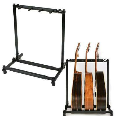 Hold up to 3 Guitars Triple Folding Multiple Guitar Holder Rack Stand Black