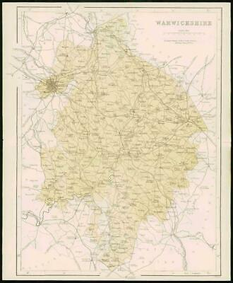 1868 - Original Colour Antique Map of WARWICKSHIRE by W Hughes (FC25)